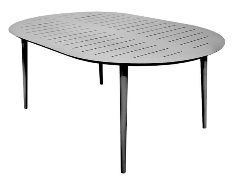 Table Ovale En Aluminium Coloris Gris Clair Dim 180 X 120 X