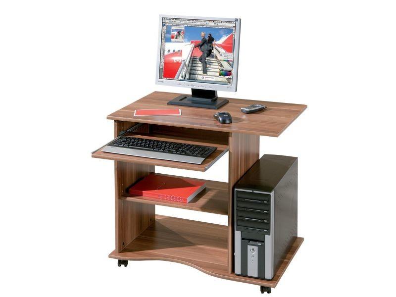 Bureau informatique à roulette en bois coloris noyer p co gary