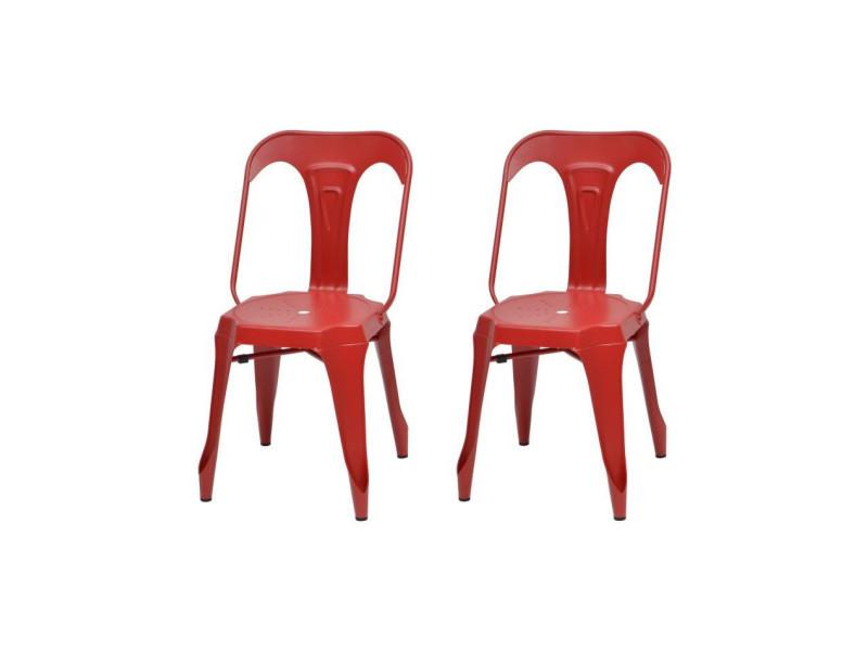 Kraft zoeli lot de 2 chaises de salle a manger - métal rouge mat - style industriel - l 44 x p 53 cm
