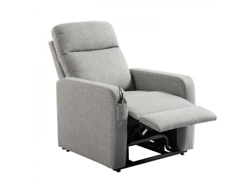 Relax fauteuil releveur de relaxation electrique - tissu gris - classique - l 76 x p 88 cm
