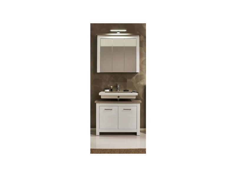 Lotte meuble sous vasque l 88 cm - décor pin blanchi et chene bistré ...