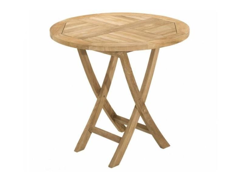 Table ronde pliante de jardin 80*80 cm en teck 20100852800 - Conforama