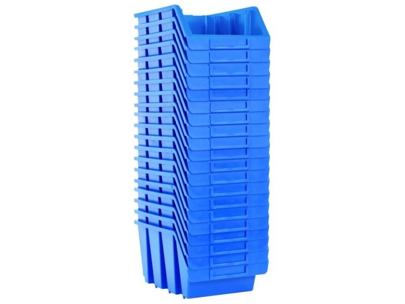 Vidaxl bacs empilables de stockage 20 pcs bleu plastique 146285