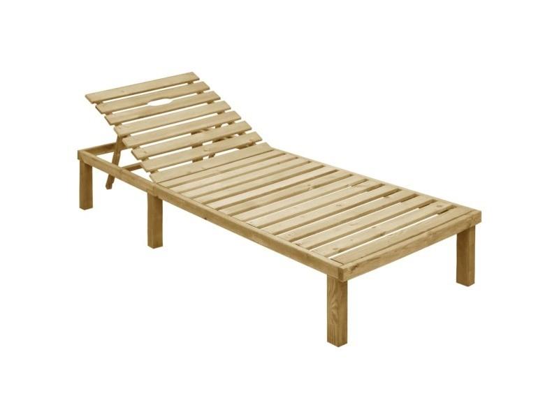 Vidaxl chaise longue avec coussin vert bois de pin imprégné
