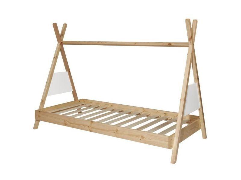 Structure de lit amarok lit tipi enfant - bois pin massif - blanc/naturel - sommier inclus - 90 x 190 cm