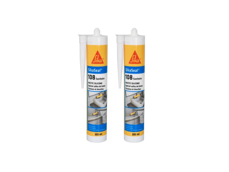 Lot de 2 mastic silicone anti-moisissure sika sikaseal 108 sanitaire - blanc - 300ml 524946x2