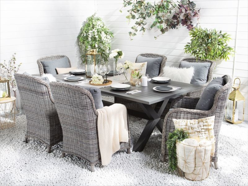 Table de jardin en aluminium 200 x 105 cm cascais 149809