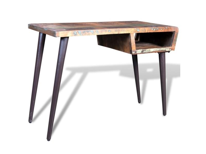 Vidaxl bureau avec pieds en fer bois de récupération 241138 vente