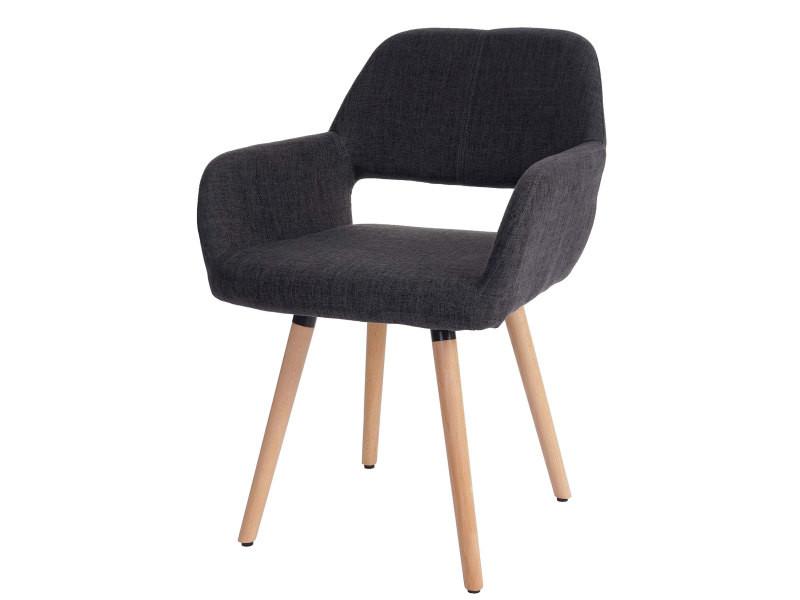 Chaise de salle à manger hwc-a50 ii, fauteuil, design rétro des années 50 ~ tissu, gris foncé