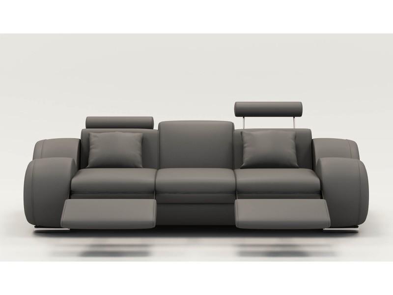 Canapé design 3 places cuir gris + têtières relax oslo-