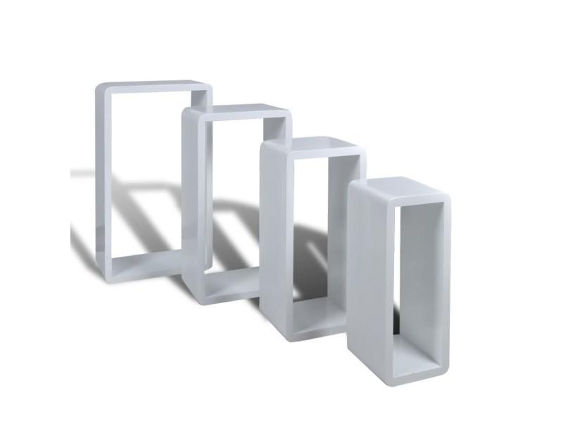 Vidaxl etagères design murale 4 cubes blanc 240345