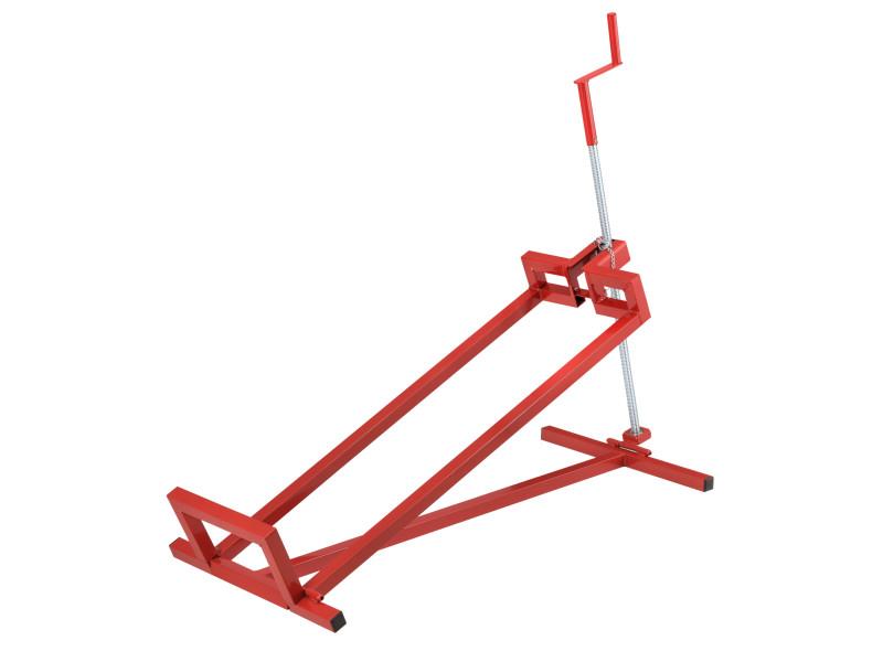 Lève-tondeuse dispositif de levage avec manivelle pour tracteurs tondeuses quads inclinable jusqu'à 45° capacité de charge jusqu'à 400 kg acier rouge [pro.tec]
