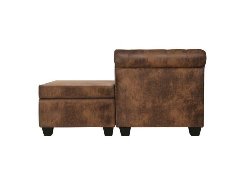 872cd703c4b prevnext. Vidaxl canapé chesterfield en forme de l cuir daim synthétique  marron. Premium