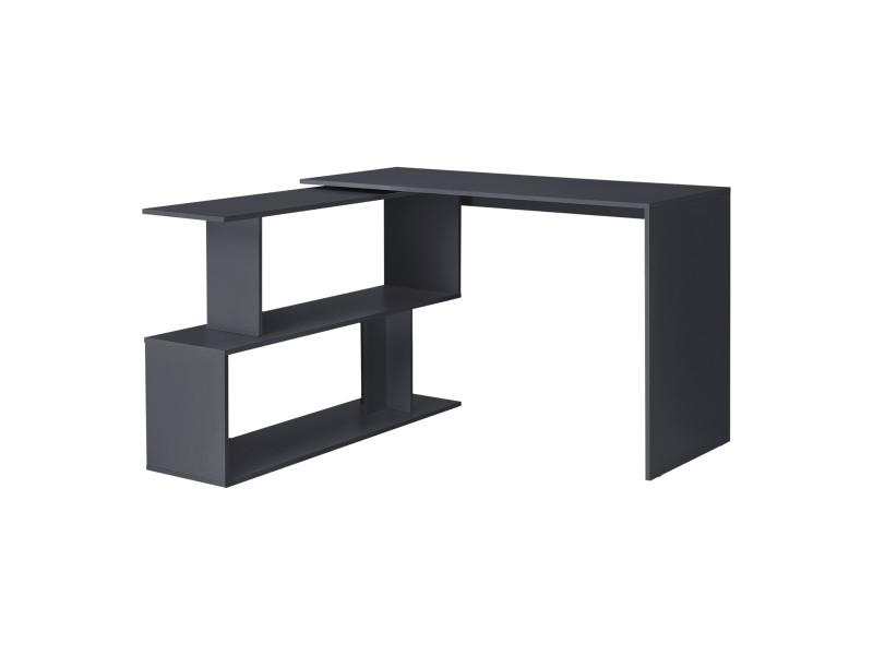 Bureau gigogne design avec partie étagère bureau de coin extension panneau de particules mélaminé 77 x 120 x 50 cm gris foncé [en.casa]