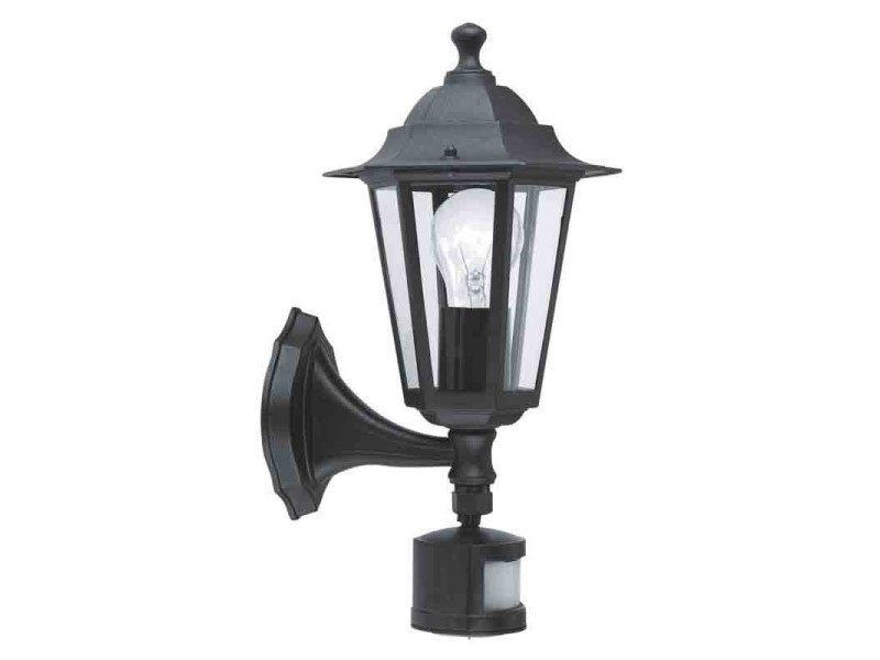 Eglo lampe d extérieur en applique laterna avec detecteur noire