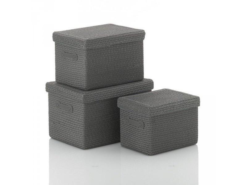 Kela set de 3 corbeilles rimossa grises 31280