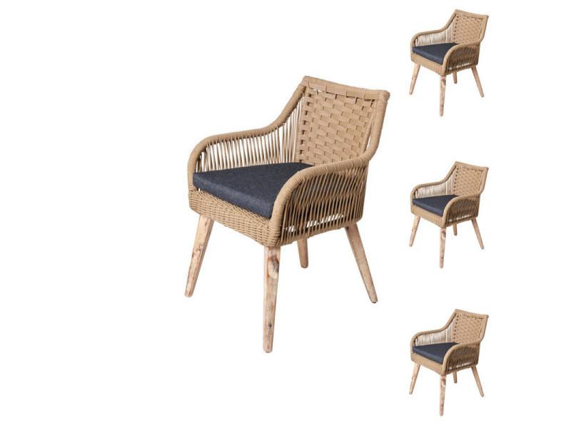 Quatuor de chaises en corde beige/bois - biak - l 60 x l 62 ...