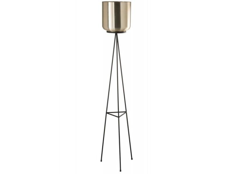 Cache Pot Sur Pied En Metal Noir Et Dore Hauteur 120cm Vente De