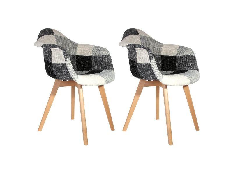 Mozaik - lot de 2 fauteuils scandinaves noirs et blancs