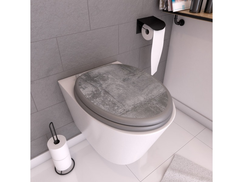 Abattant wc - en mdf avec charnières en inox réglables - ciment