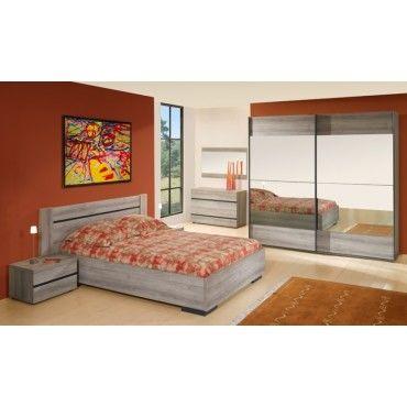 chambre adulte compl te 140 190 ch ne fum mara l 140 x l 190 neuf vente de. Black Bedroom Furniture Sets. Home Design Ideas