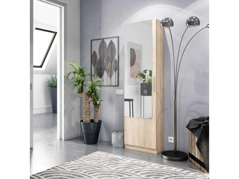 Meuble à chaussures avec miroir chêne clair - alto - l 50 x l 22 x h 180 cm