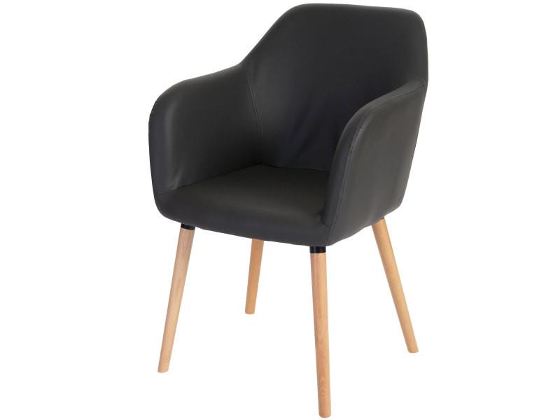 Chaise de séjour / salle à manger malmö t381, style rétro des années 50 ~ similicuir, gris