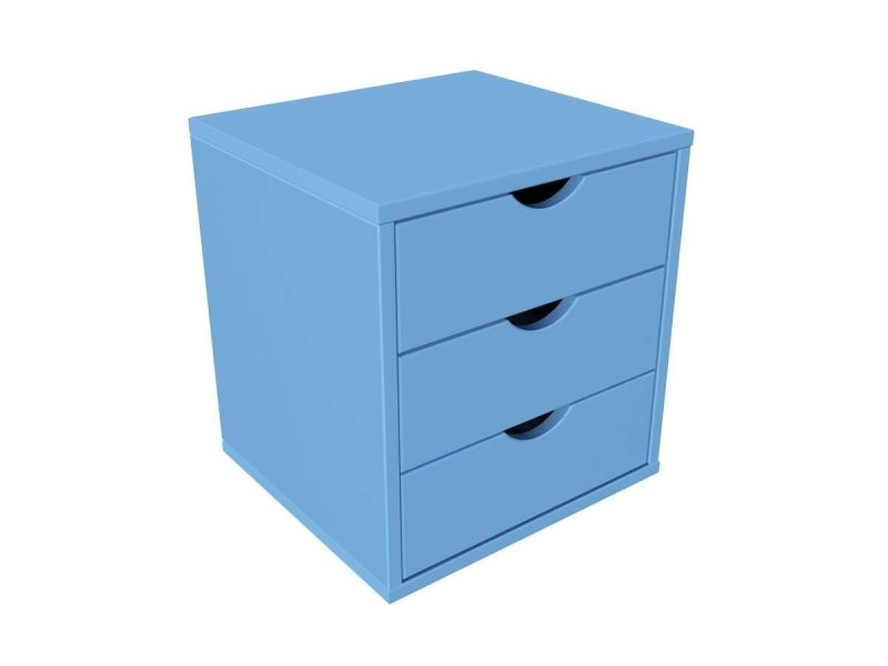 Bloc 3 tiroirs bois massif bleu pastel BLOC3T-BP