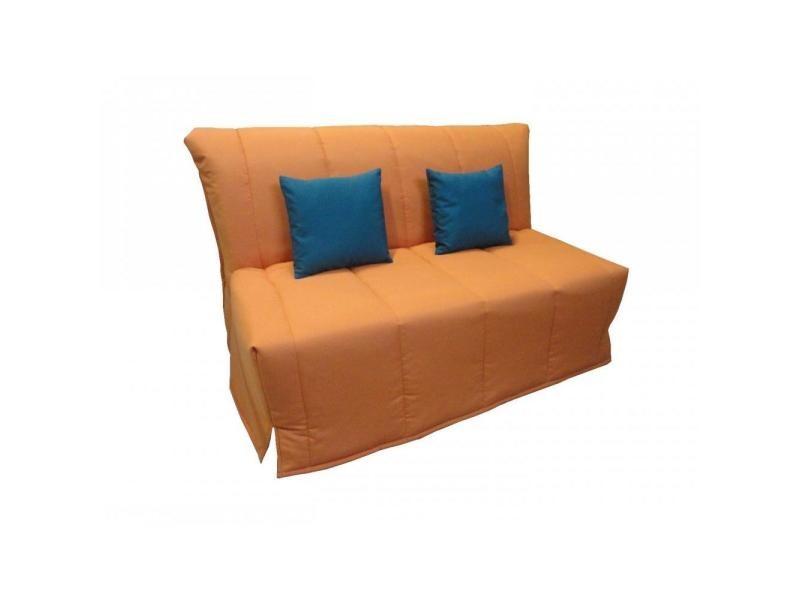 Canape Bz Convertible Flo Orange 140 200cm Matelas Confort Bultex