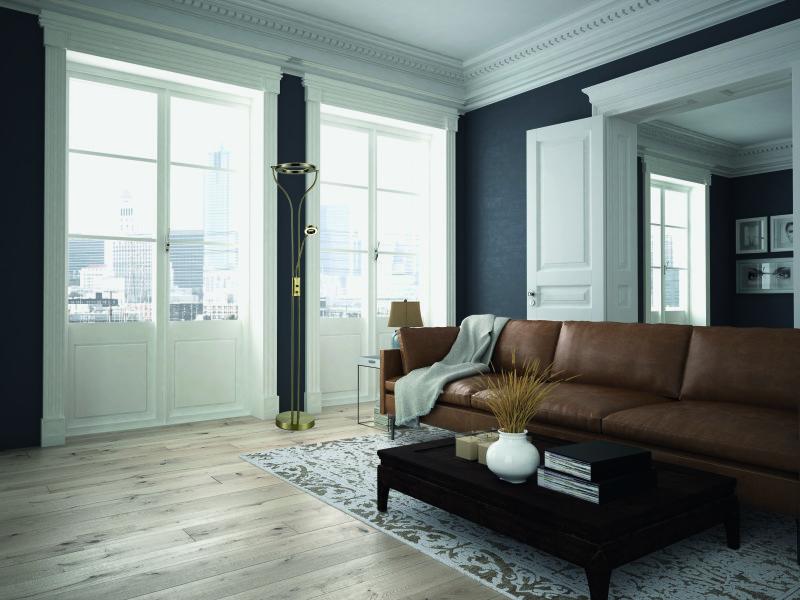 lampadaire liseuse led dimmable oreo dor antique en m tal. Black Bedroom Furniture Sets. Home Design Ideas