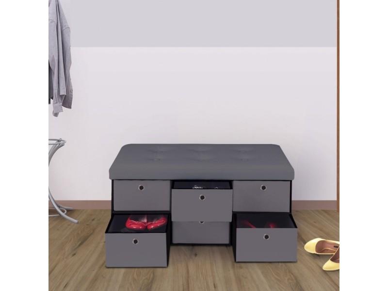 banc coffre rangement gris 6 tiroirs 76x38x38cm pvc vente de id market conforama. Black Bedroom Furniture Sets. Home Design Ideas
