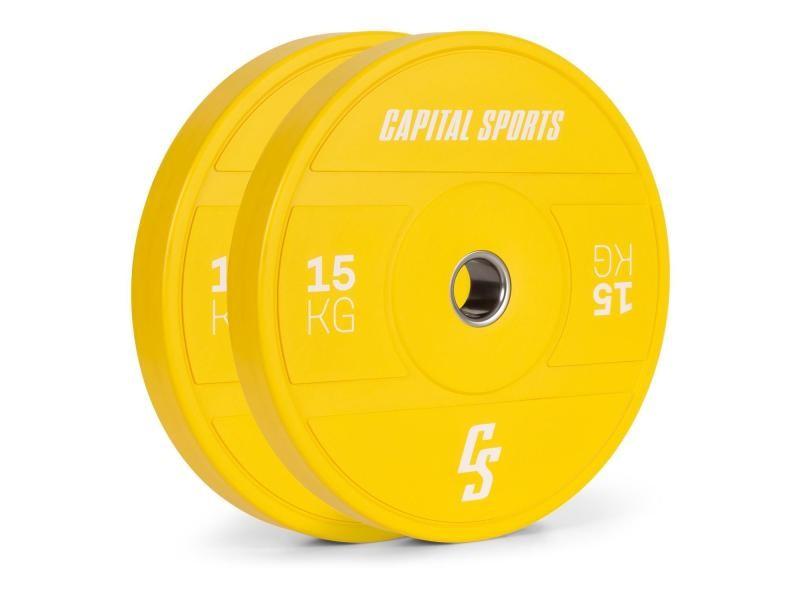 Disques pour haltères, barres cross-training et olympiques -capital sports nipton 2021 -2x 15kg - jaune