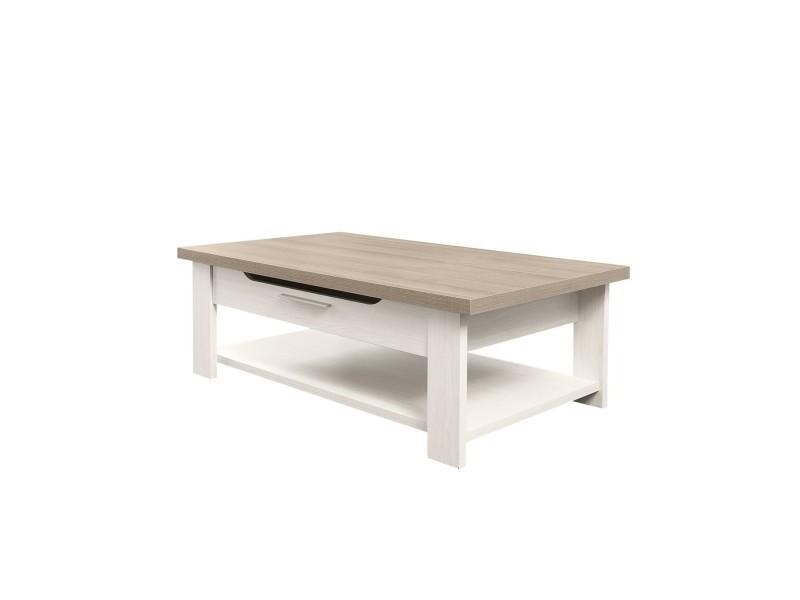 Table Basse Bois Clair Avec Tiroir Toscane Fabrication Francaise Vente De Calicosy Conforama