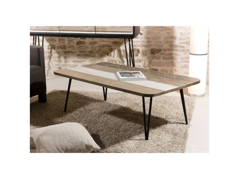 Table basse bois et métal 120 x 70 cm