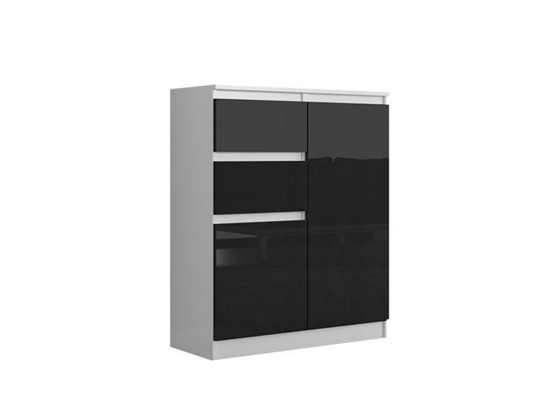 Lisbon 2w | commode contemporaine chambre/salon/bureau | 98x80x40cm | rangement 2 tiroirs/2 portes | buffet style moderne | blanc/noir laqué