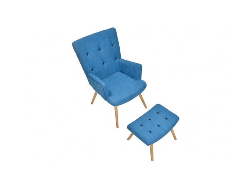 Fauteuil scandinave repose pieds bleu canard vente de for Fauteuil scandinave conforama