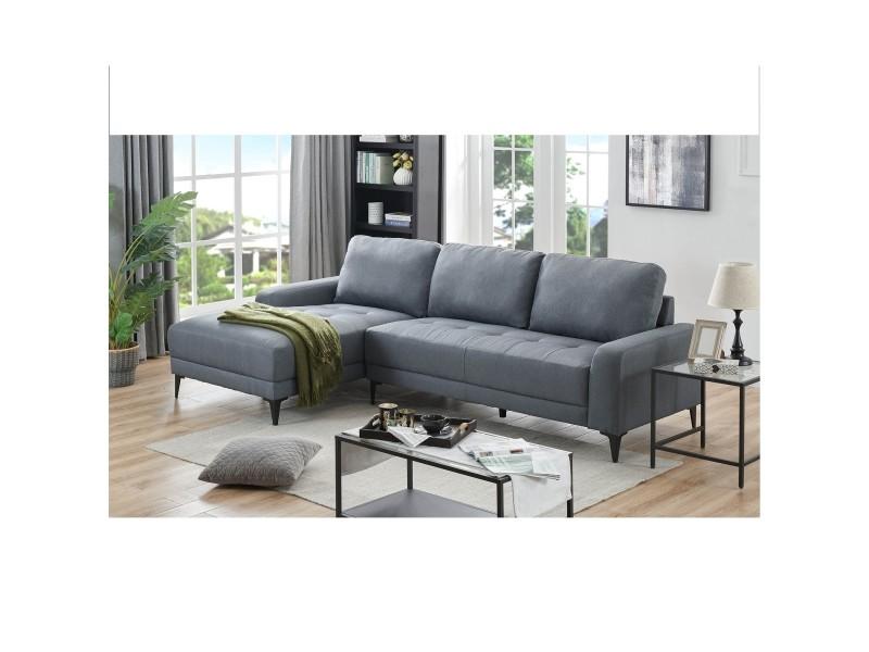 Canapé d'angle avec méridienne en tissu gris lohana - angle gauche
