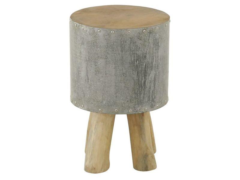 Tabouret bidon rond bois et métal clair noldor