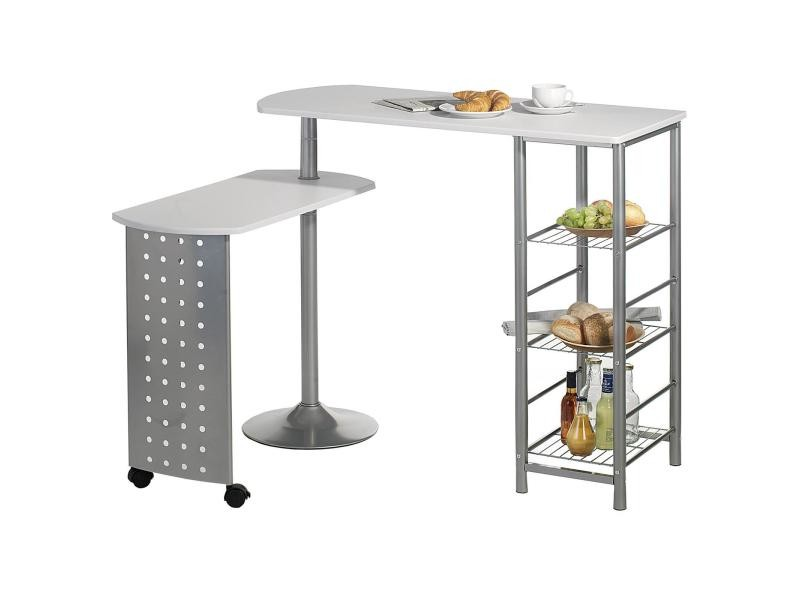 Table haute de bar josua mdf d cor blanc vente de table - Table haute bar conforama ...