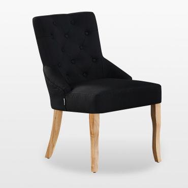 Kensington chaise capitonnée en tissu noir pieds en bois
