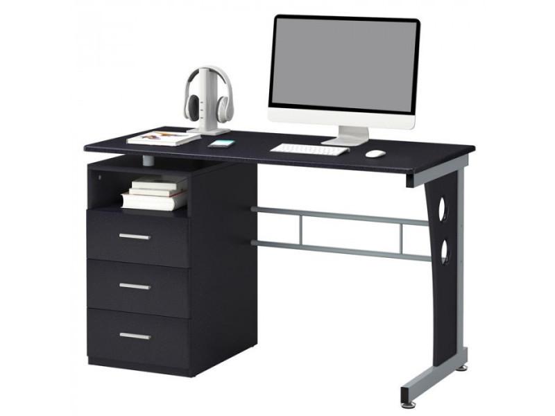 Bureau informatique noir avec tiroirs de rangement et tablette