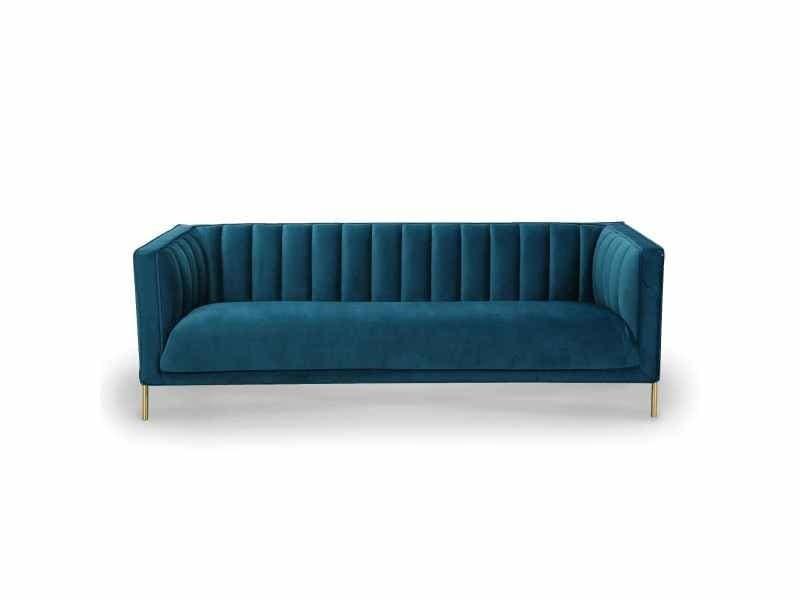 Canapé 3 places en velours bleu pieds doré roby
