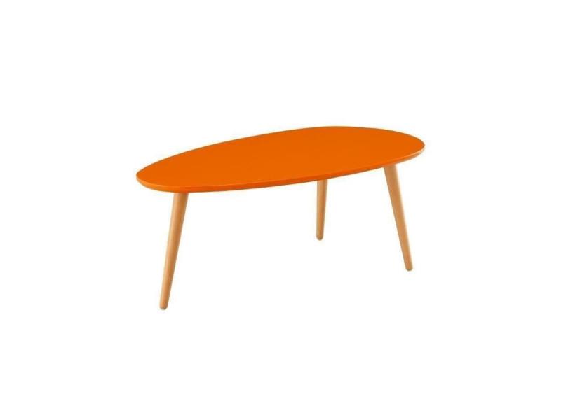 Stone table basse ovale scandinave orange laqué - l 88 x l 48 cm