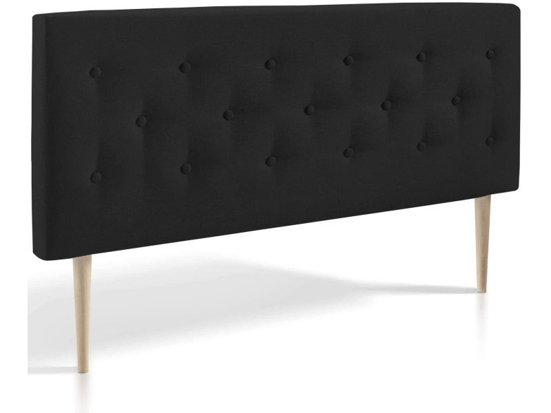 Tête de lit capitonnée tissu Noir 140x100cm-Ép 8cm