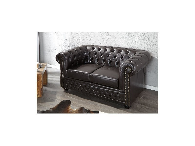 Canap chesterfield xl 2 places marron vente de royale deco conforama - Canape chesterfield 2 places ...