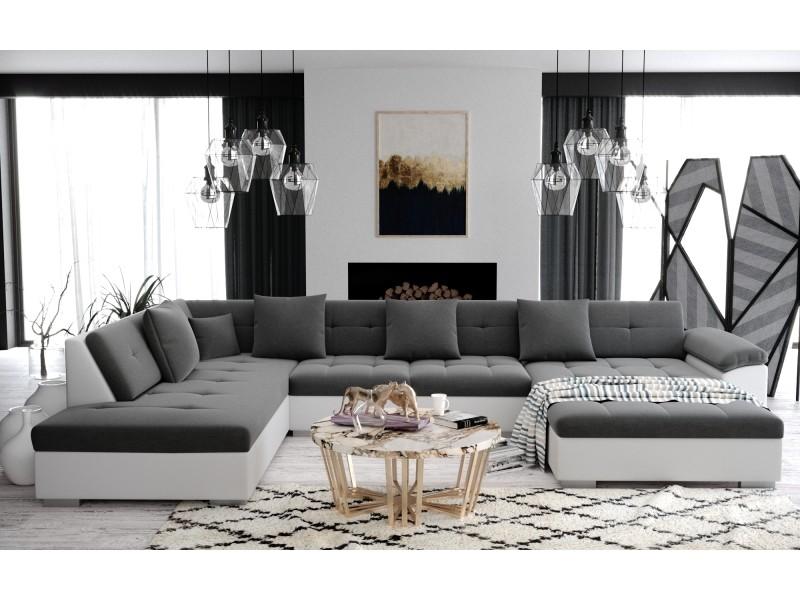 Atis - canapé d'angle panoramique xxl en u - en tissu et simili cuir - angle gauche gris et blanc