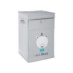 Panier à linge bear en polyester et carton - dim : l34 x l54 x h34 cm - pegane -