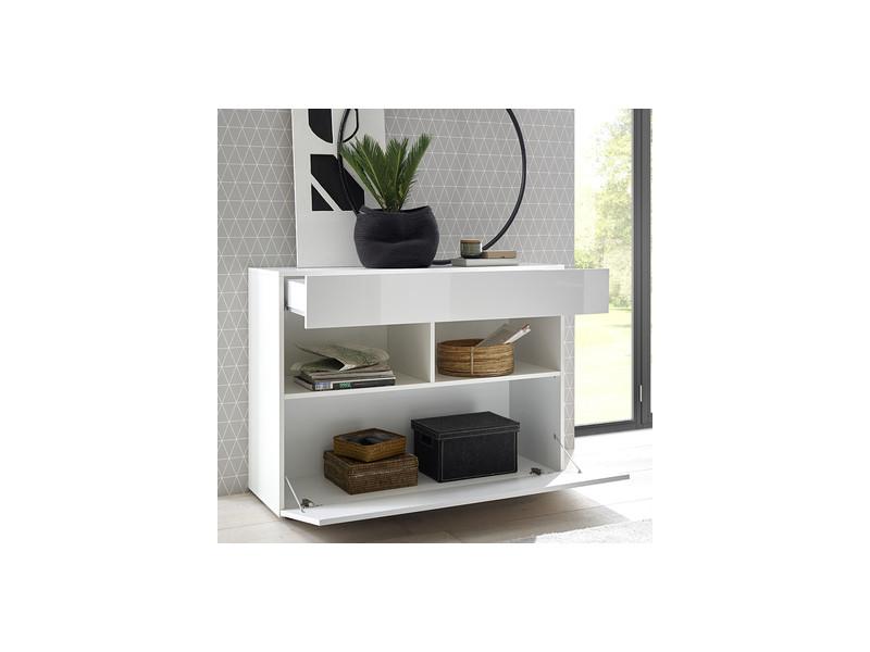 Petit buffet blanc 110 cm design 1 porte 1 tiroir fino vente de nouvomeuble conforama - Petit buffet salon ...