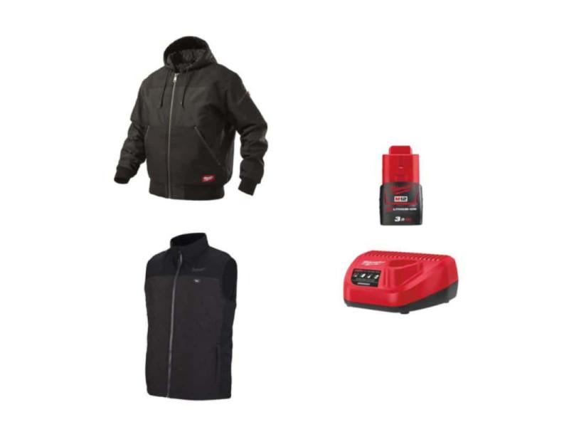 Pack milwaukee taille xxl - blouson noir à capuche wgjhbl - veste chauffante sans manche hbwp - chargeur de batterie 12v m12 c12 c - batterie m12 3.0 ah PackVestesChauffantesTailleXXL