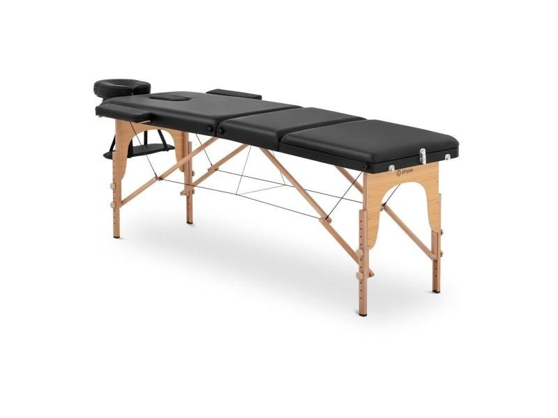 Table de massage pliante pliable professionnelle lit portable en bois portative matériel à domicile mobile hêtre pvc hauteur sac compris noir helloshop26 14_0003638